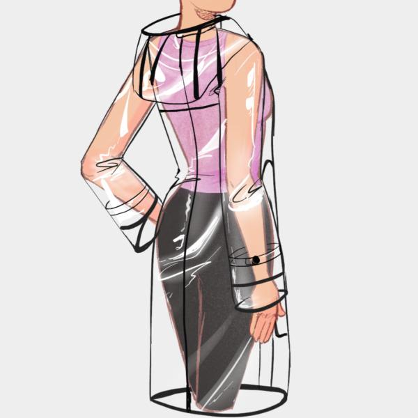 Vista espalda de la chaqueta antifluidos larga transparente mujer bordes negros